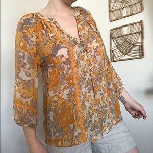 Joie orange & grey floral button v-neck blouse
